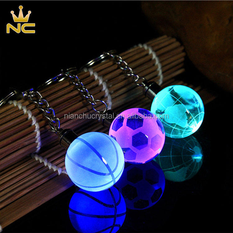 World Globe Key Chain LED Light Keychain Football Crystal Ball Keychain For Men Gifts