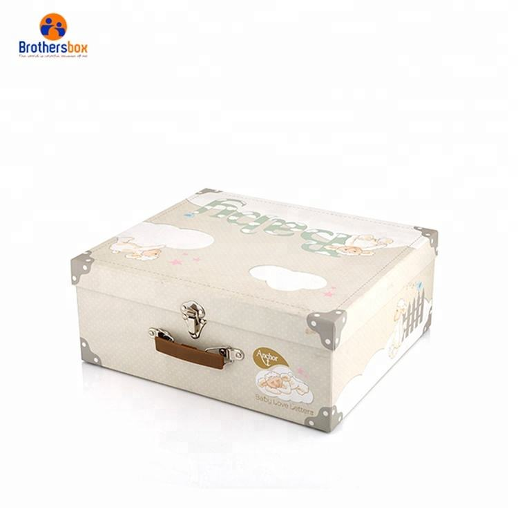 Custom Print Baby Fancy Paper Cardboard Mini Suitcase Gift Box With Handle