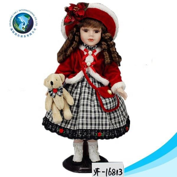 Hot selling wholesale cute 18 inch american doll red dress with teddy bear porcelain faces doll