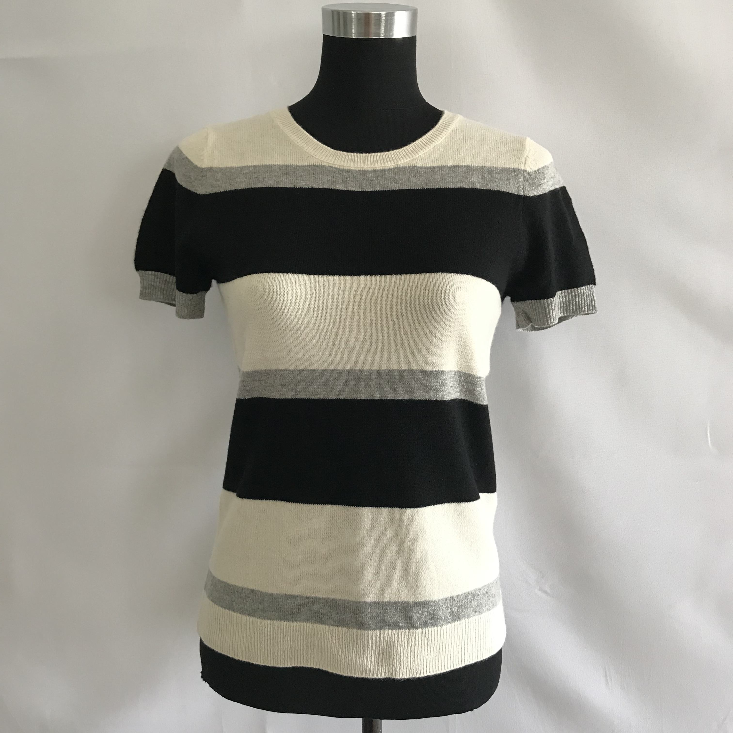 FALL AUTUMN SPRING SUMMER 2019 100% pure cashmere knitted ladies short sleeve crew neck striped sweater pullover
