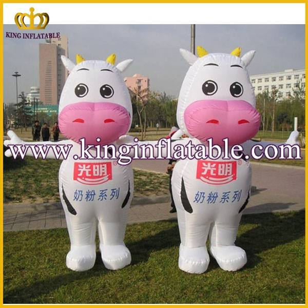 Cute Used Inflatable Moving Cow Mascot Costumes For Sale