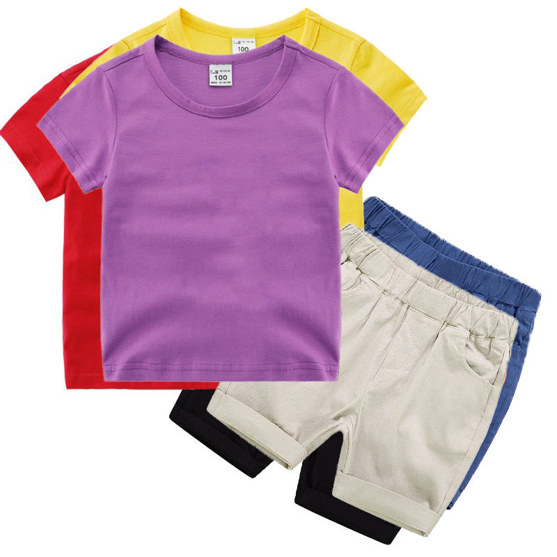 High quality causal kids boy summer t shirt and cargo shorts clothes sets