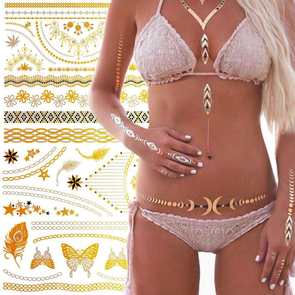Temporary Tattoos 5 Sheets Gold Flash Tattoos for Women Waterproof Sticker for Girls Tribal Flower Body Art Beach Summer Tattoos