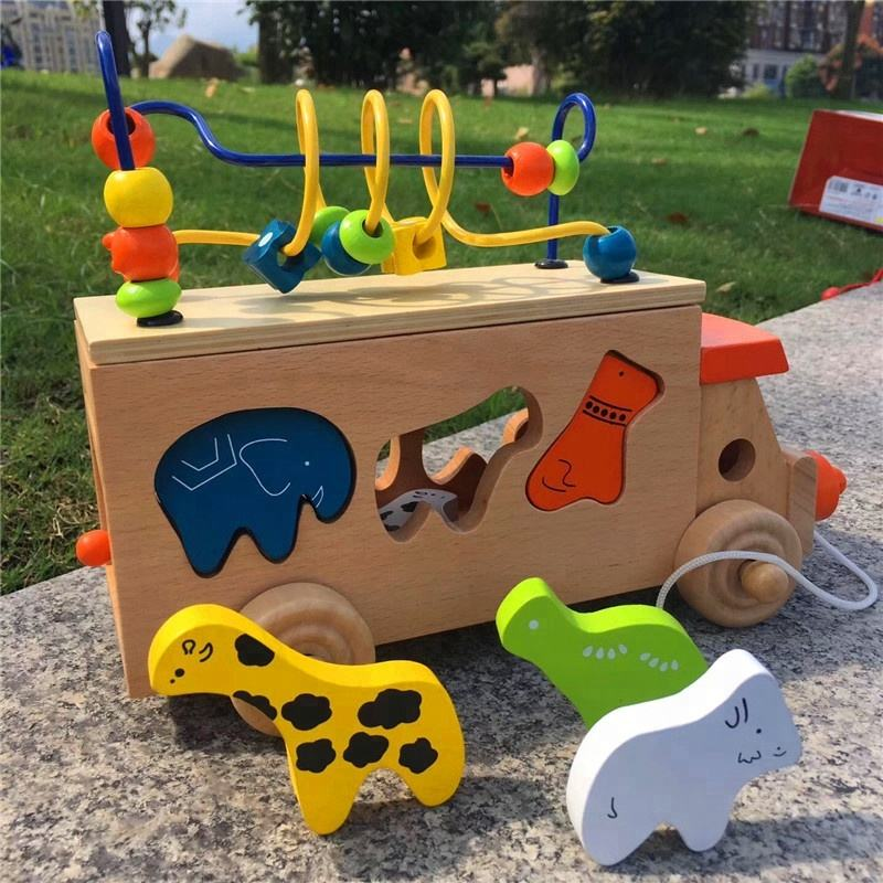 2019 Japanese wooden Kid's Animal Bead Game toys Wooden Beads Maze Bus Educational Toy WTB003