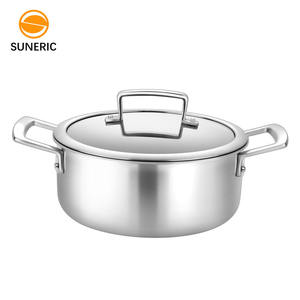 High Quality Durable Kitchen Casseroles Glass Lid 3-Ply Pure Titanium Cookware
