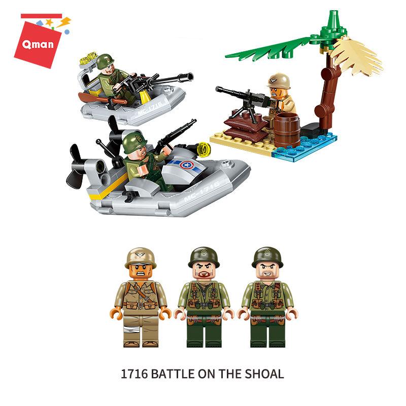 Qman Chiến Đấu Khu Chiến Đấu mặt đất <span class=keywords><strong>Nước</strong></span> chiến đấu Loạt Các Khối Xây Dựng Tên Lửa mô hình đồ chơi Tương Thích Legoing