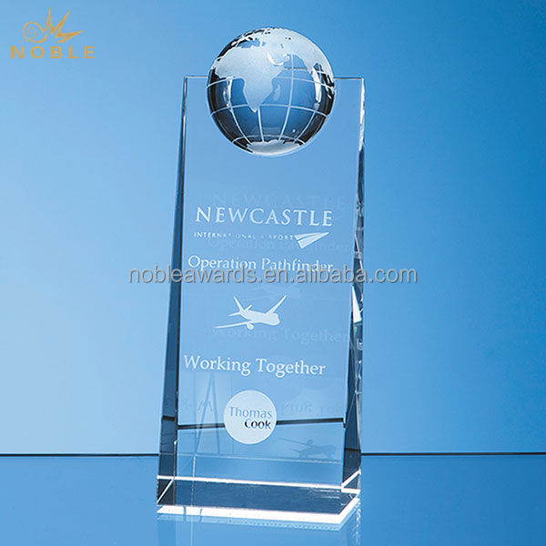 Cheap Custom Rectangle Crystal World Globe Award And Trophy