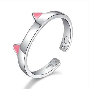 925 Sterling Silver Plated Copper Animal Pink Black Ears Kitty Cat Ring Open Adjustable Ring