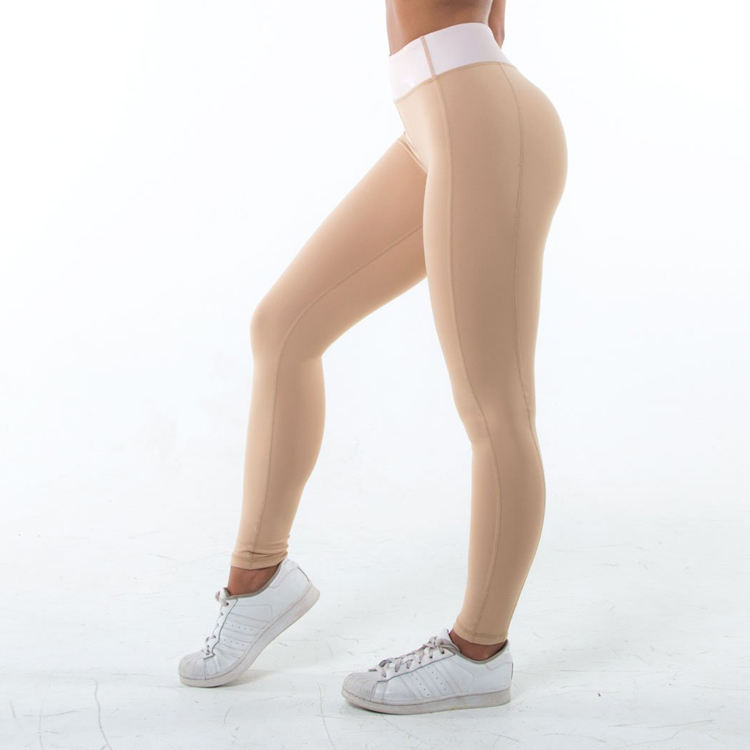 Femmes Lycra Spandex Vêtements Musculation Couleur Nude Compression Leggings