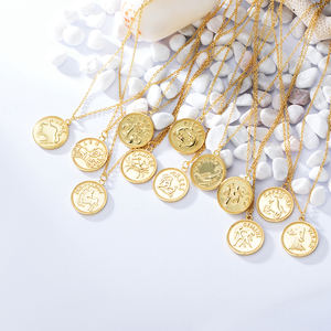 Peishang Zodiac Signs Necklace 925 Sterling Silver 14K Gold Plated Monedas Plata Coin 12 Horoscope