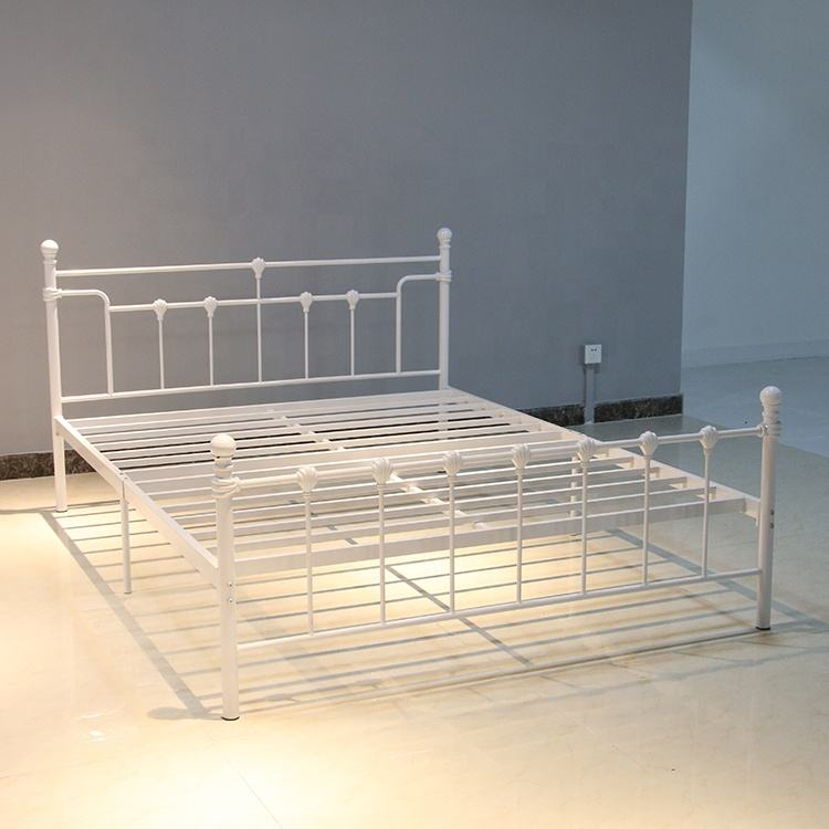 2019 Hot selling Bedroom Furniture Wrought Iron Metal Bed Queen size for Home-Hotel-Apartment-Dormitory DB-906