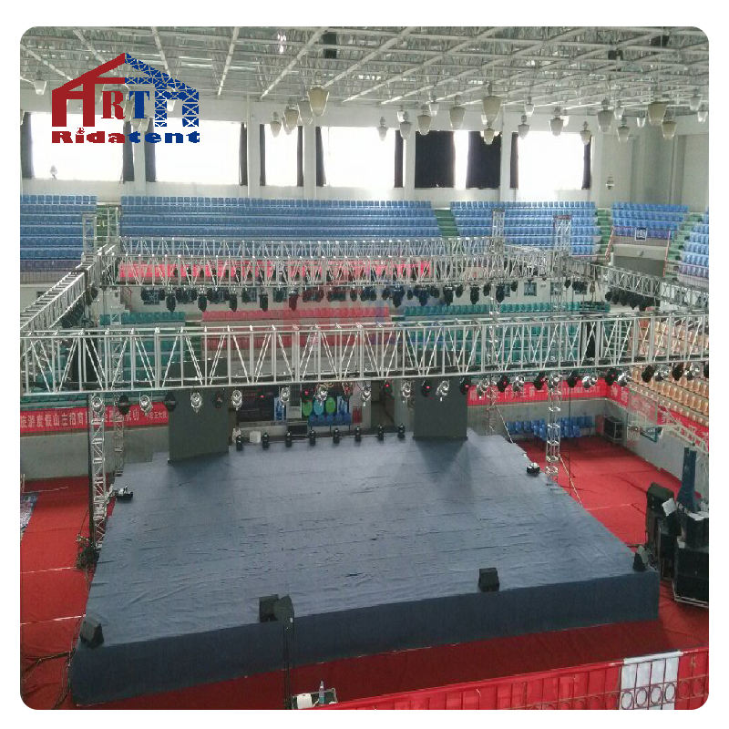 black mental lectern podium truss , array cable structure for speaker truss