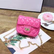 OEM Pink PU Handbag Quilted Metal Chain Shoulder Bag Teen Purse Little Purse Girl's Kids Crossbody Bag
