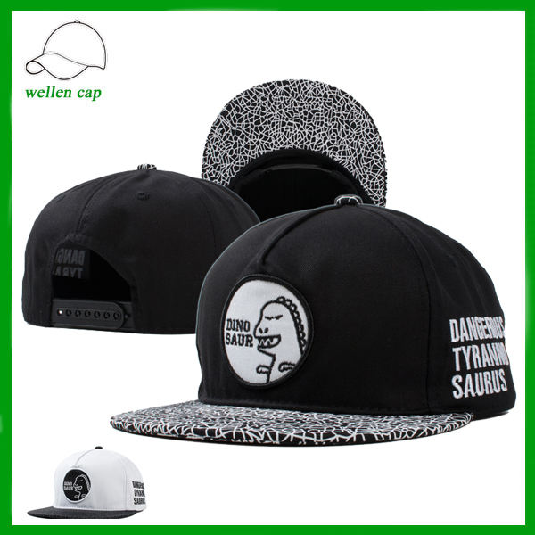 Printed Printed Brim Embroidered Dinosaur Hip Hop Style Baseball Cap For Sale