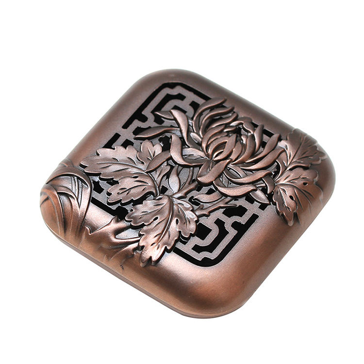 Flameer Classic Hollow Box Incense Burner Coils Burner Handmade Copper Alloy Ash Catcher with Lid