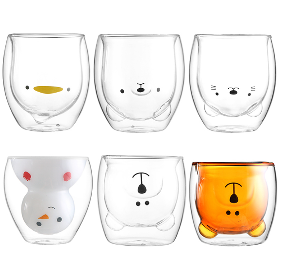Hot Selling Creative Borosilicate Coffee Latte Mug Beer Water Cup Snowman Double Wall Glass Cup