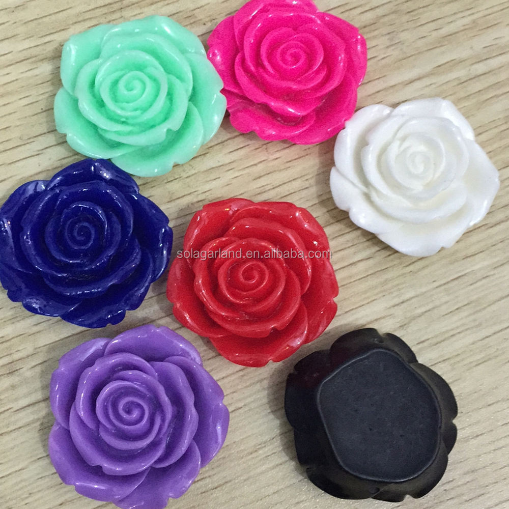 Top Best Large 42mm Plastic Rose Beads Flat Back Resins Flower Cabochons with 2.5mm Hole