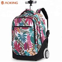2020 Aoking brand hot selling custom wheeled girl school backpack wheel trolley school bag