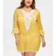 Summer lady yellow plus size women long sleeve dresses