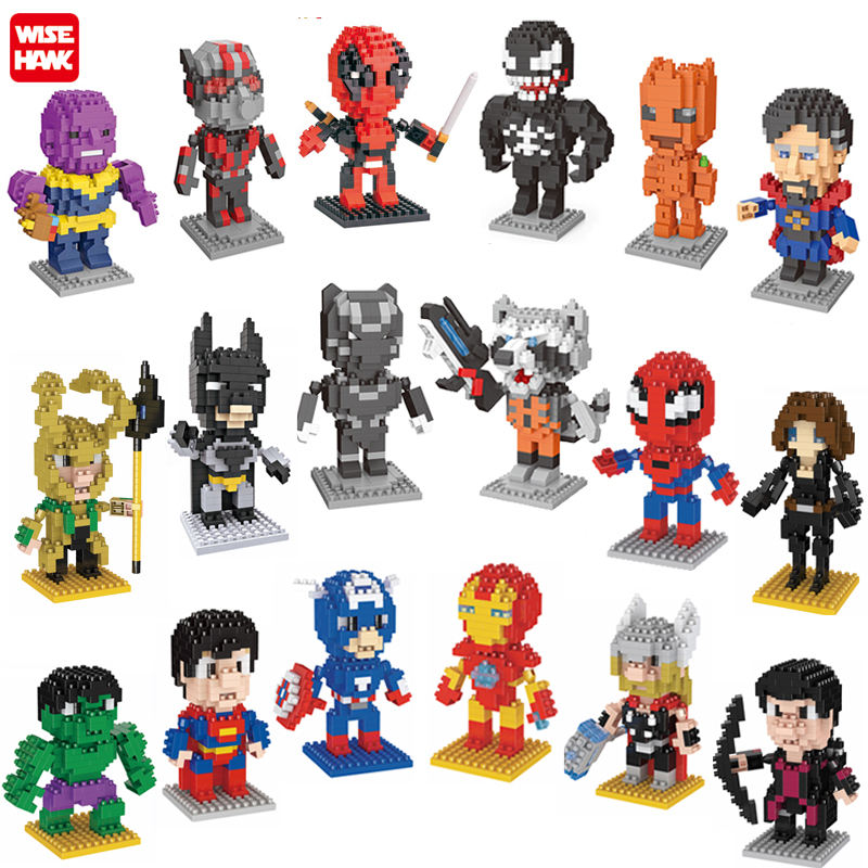 Vendita calda di plastica micro dimensioni mattoni super heroes mini figure building blocks marvel