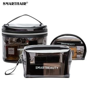 Custom Transparent Small Dark Clear Cosmetic Bag Travel Toiletry PVC TPU Makeup Bag Set Clear Organizer Beauty Case