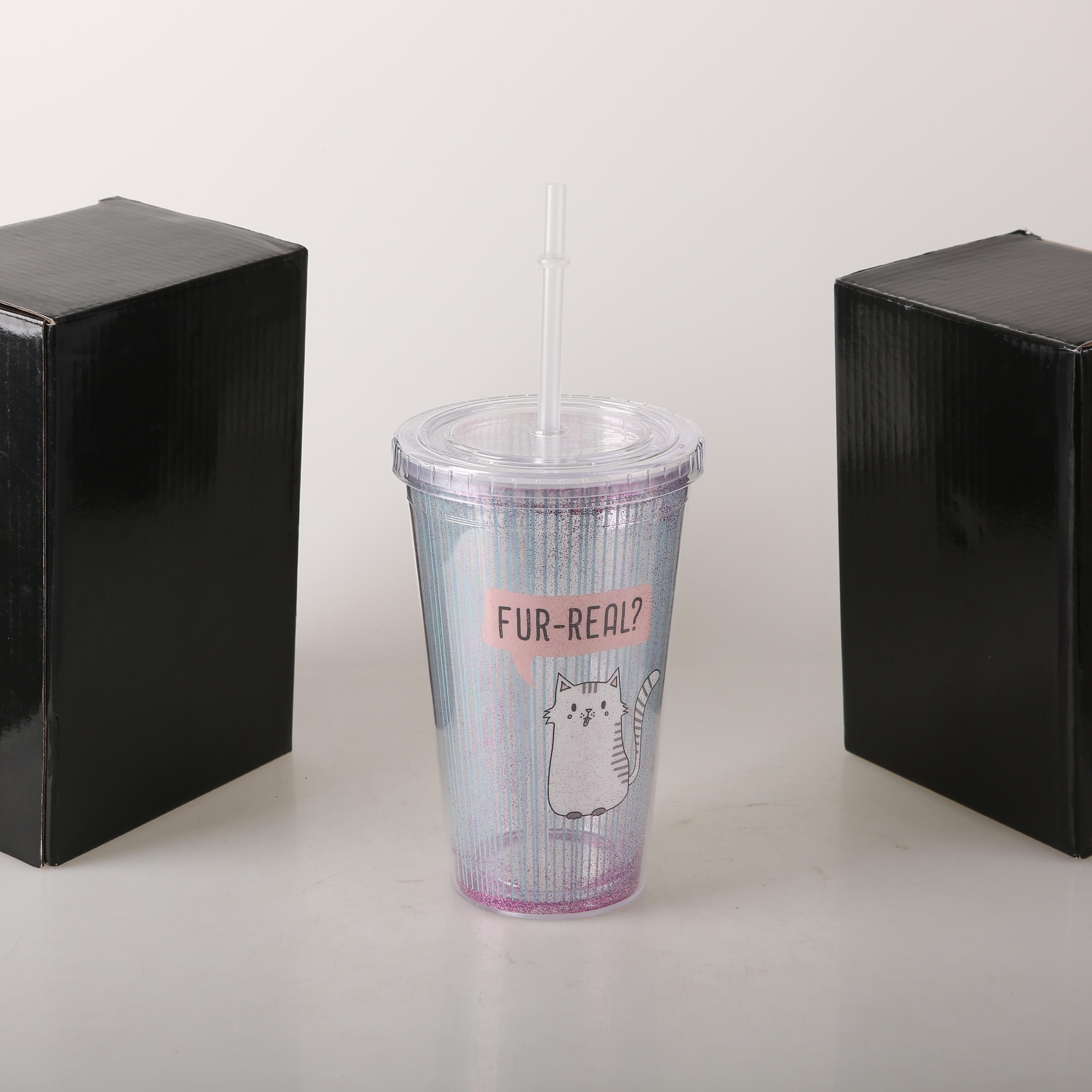 Wholesale high quality Fancy 450ml plastic cup Eco-friendly Double wall tube water cup