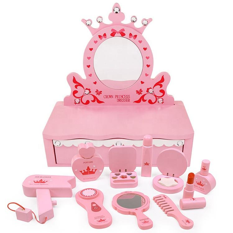 Creative Pink Educational Toys Girls Gift Small Pretend Makeup Play Set Wooden Dresser Toy Set