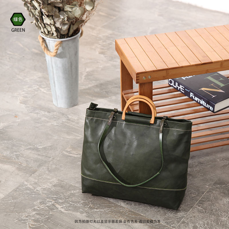 Best Real Vegetable Tanned Cow Original Women Washed Leather Tote Bag Hand Bag 6072