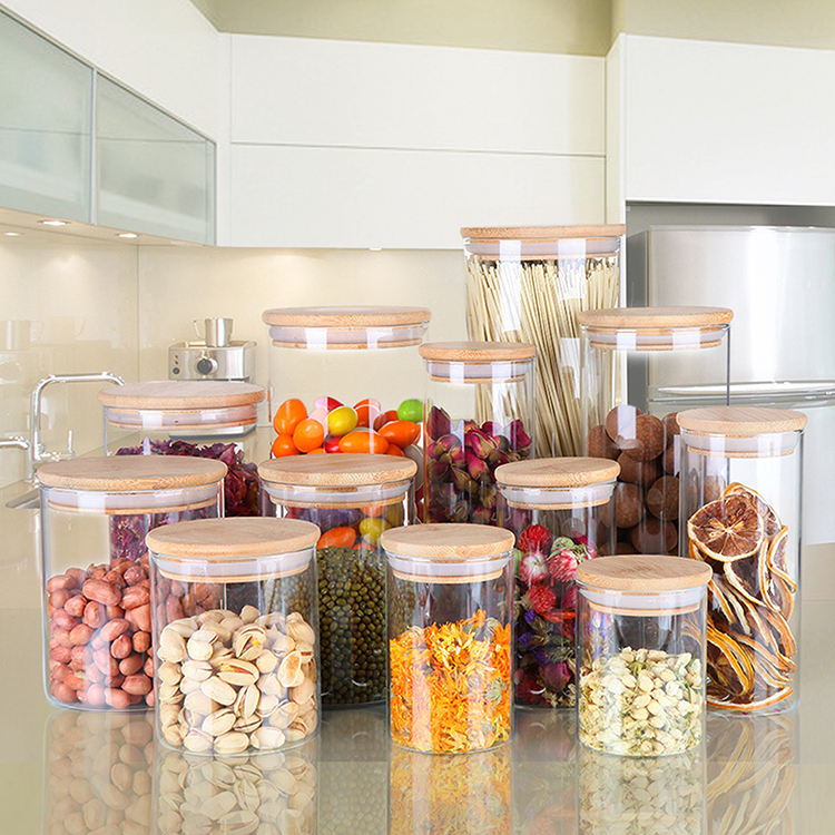 Eco-friendly transparent heat resistant glass kitchen jar