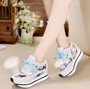 cy11174a Ladies Height Increasing Shoes Casual Women Sport Shoes High Heel Sneakers