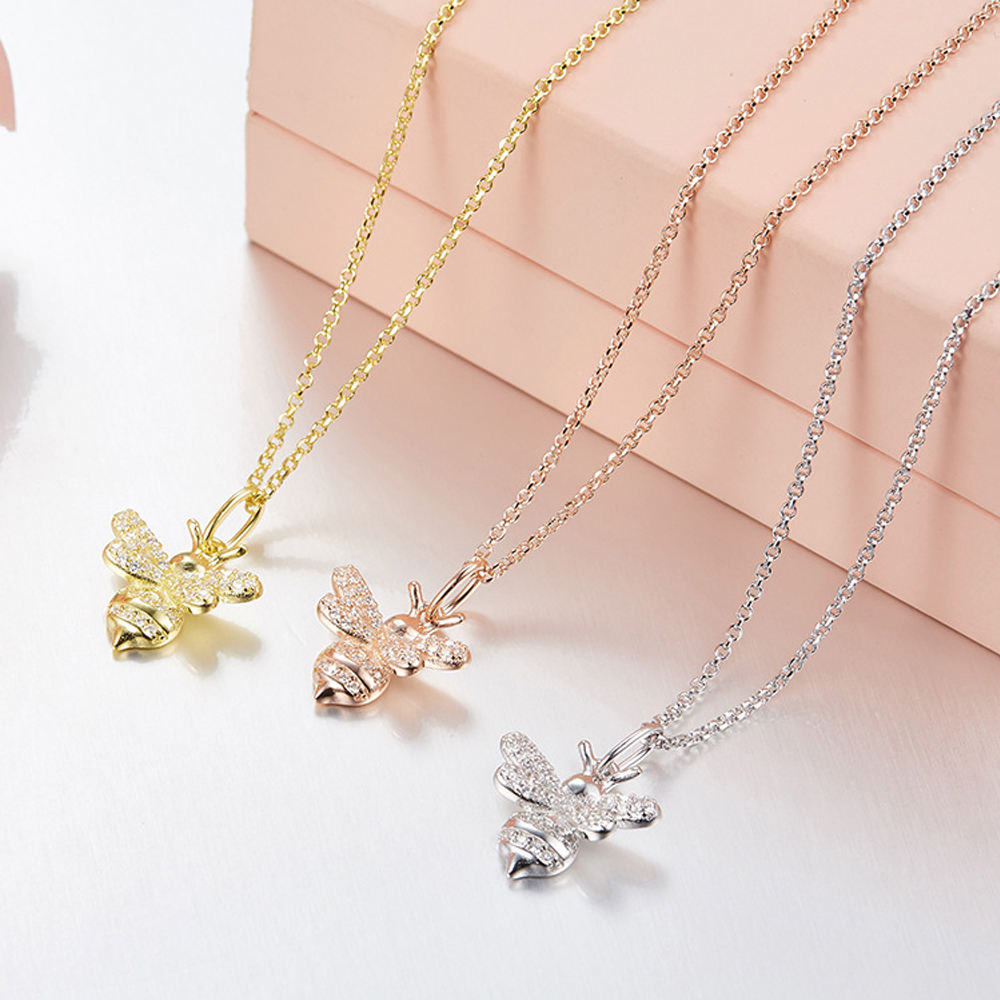 2018 Fashion Pretty Antique Brass Bee Necklace for Women Jewelry