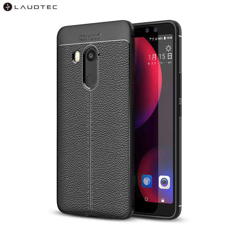 Laudtec Litchi Leather Pattern Silicone TPU Back Cover Case For HTC U11 eyes