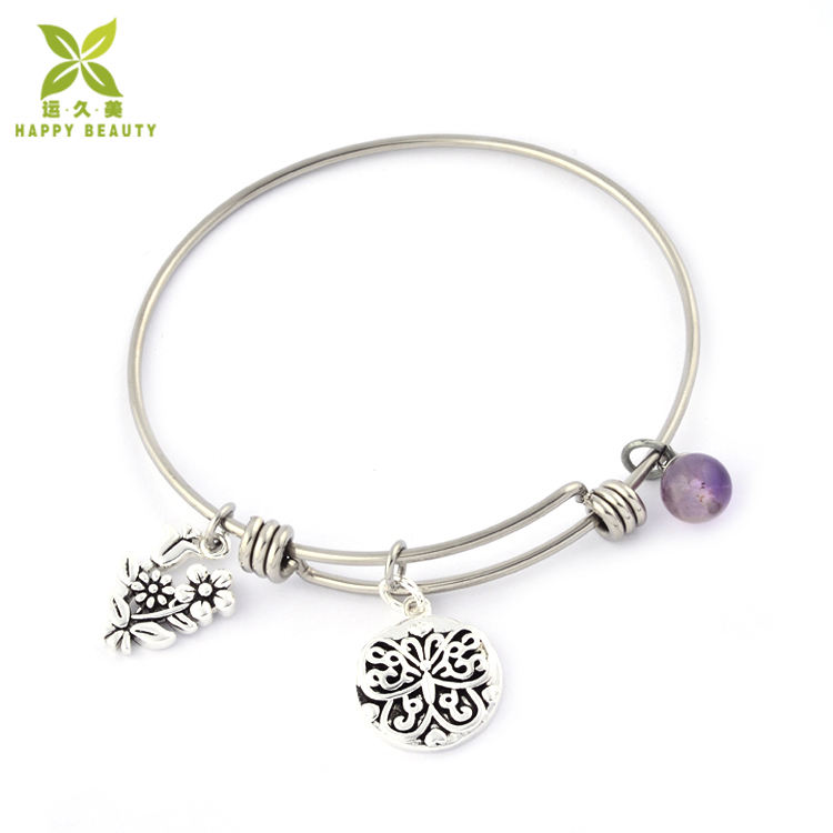 Flower and butterfly charms expandable bangle women bracelets