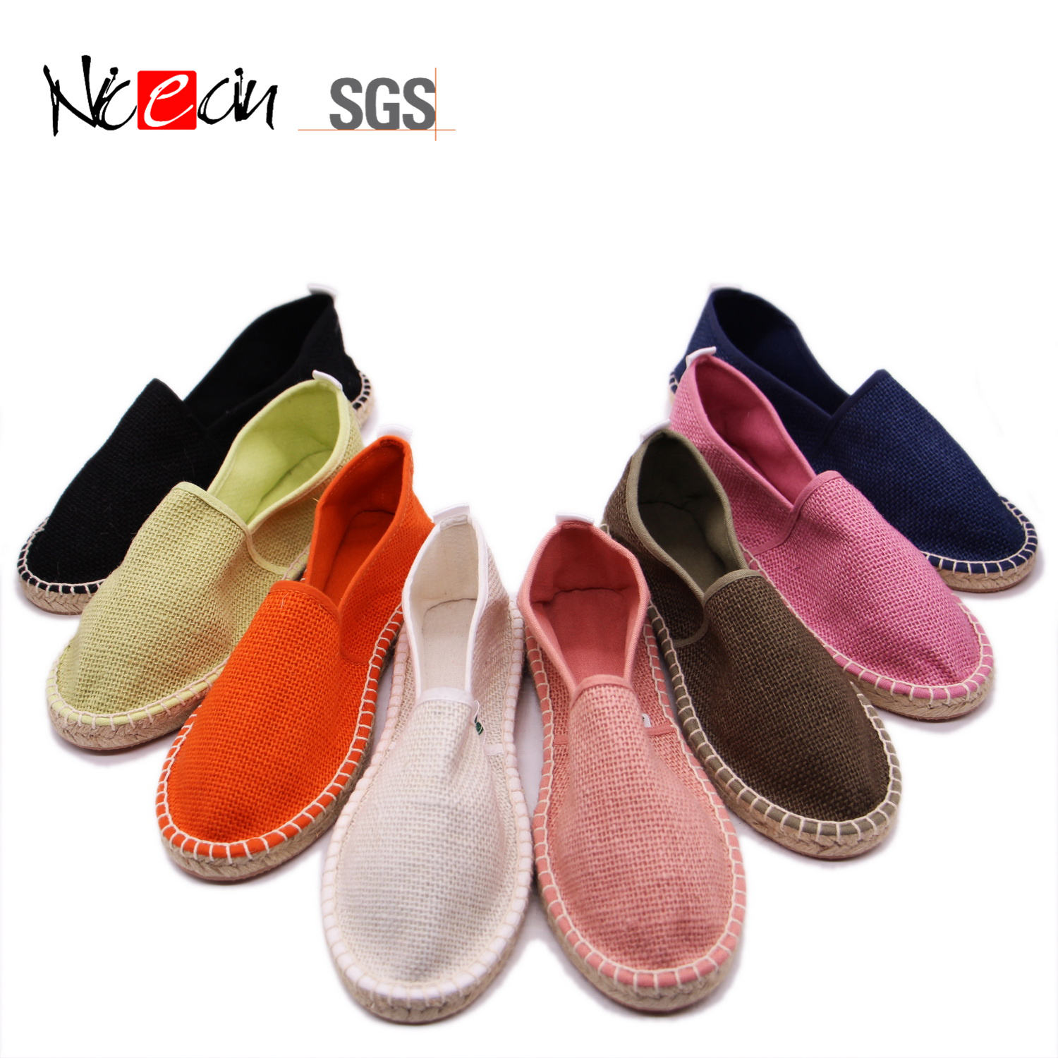 wholesale cheap natural hemp sole women flat canvas shoes espadrilles