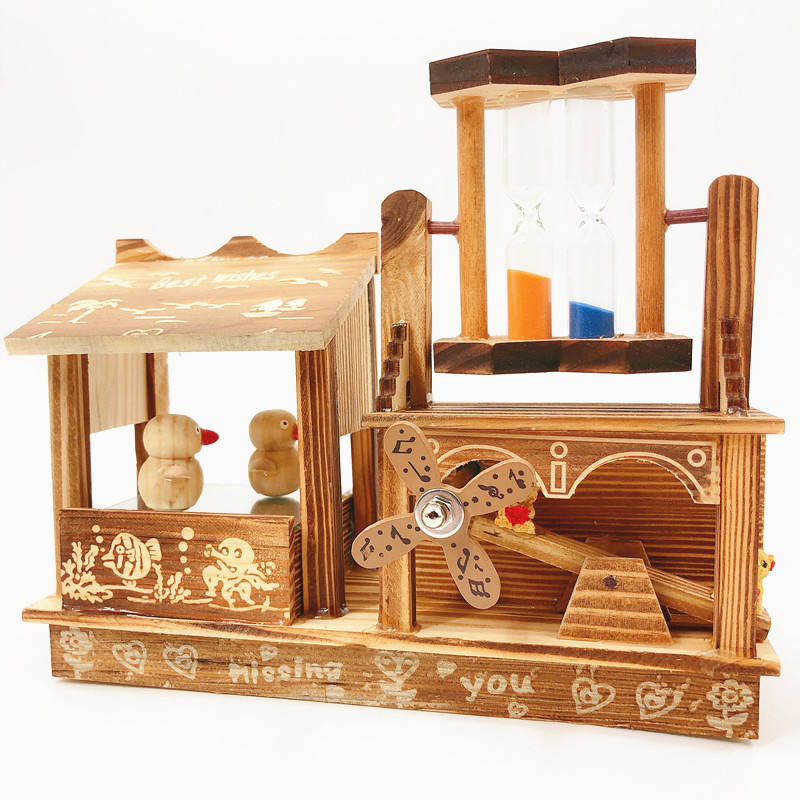 JD Hot Sale hourglass and dancing bird Superior Quality Hand Cranked Wooden Music Box