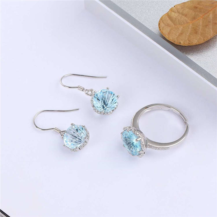 crystal gemstone jewelry wholesale 925 sterling silver 18k white gold plated natural blue topaz earring ring set for women