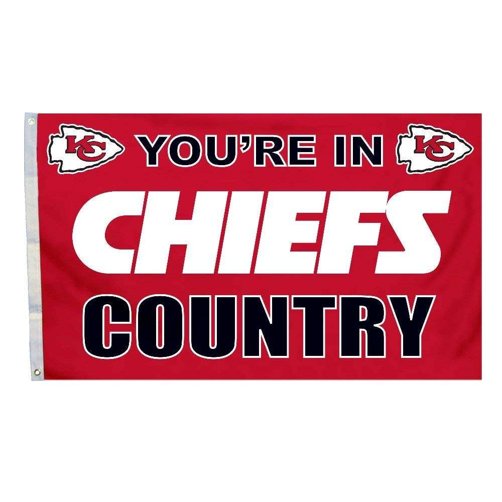 NFL <span class=keywords><strong>Kansas</strong></span> <span class=keywords><strong>City</strong></span> <span class=keywords><strong>Chiefs</strong></span> In Land Flagge mit Ösen, 3x5-Fuß