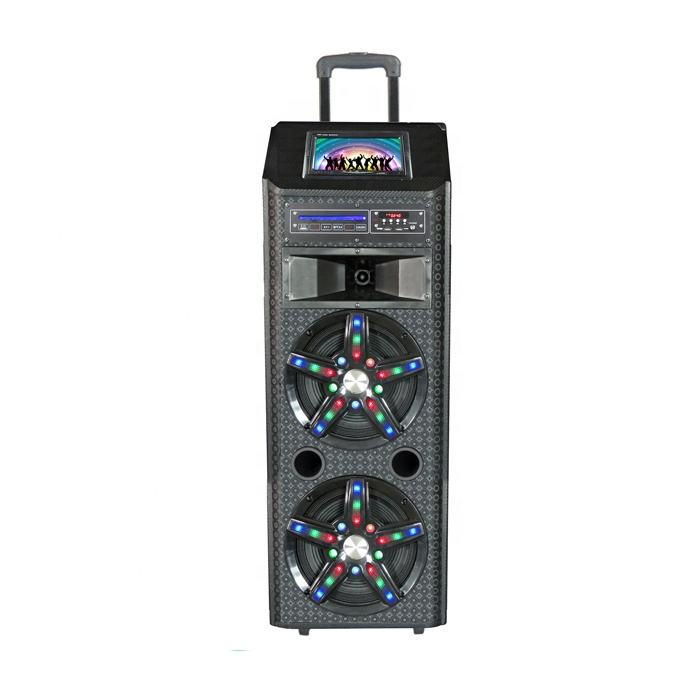 "Dual 12inch high power professional active trolley speaker with 9"" LCD screen ,DVD player"