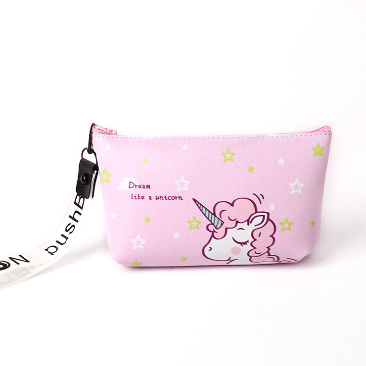 Cheap Small Cute Light Pink PU Leather Make Up Bags Cartoon Unicorn Makeup Pouch Case Cosmetic Bag For Girls