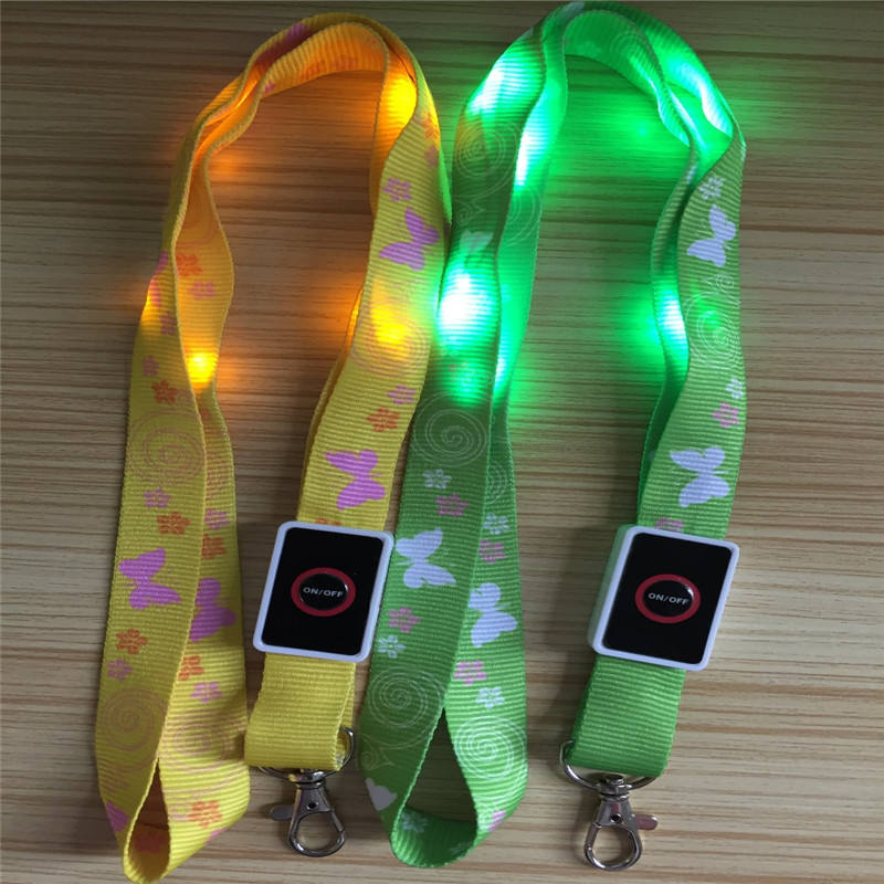 Promotional item flashing LED ID card holder polyester lanyards