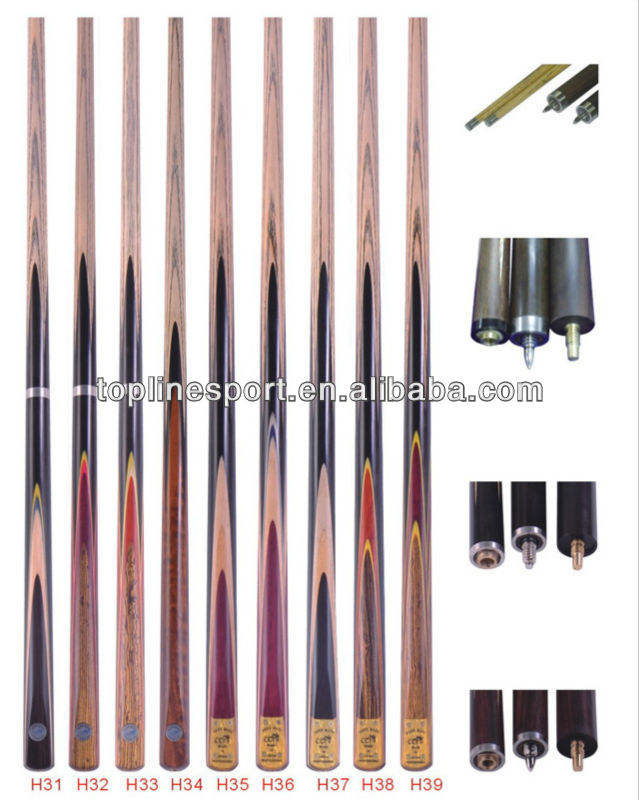 "57"" 3/4 Style Ebony Wood Snooker/Pool/Billiard Cue Stick H31-39"