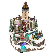 New design noel seasonal decor Led musical polyresin fiber optic rotating Xmas tree scene Christmas Village with bell tower