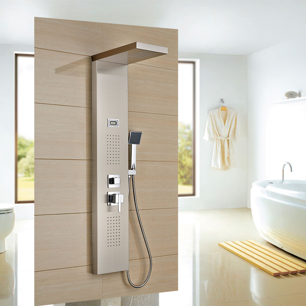 ROVATE Bathroom Shower Panel 304 Stainless Steel 2 Body Massage Sprays and 3-Function Hand Shower Tower System