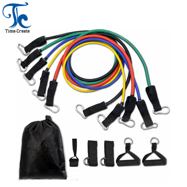 Timecreate High Quality Wholesale 11 Piece Resistance Bands Set Natural Latex Exercise Tubes