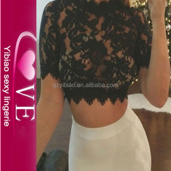 sexi open girls hot photo plus size daily wears whole black lace fabric transparent shirts