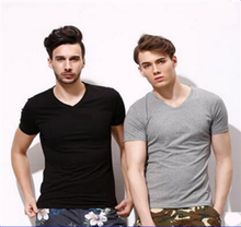 Byval China Factory Summer Men Short Sleeve V Neck 180g 100% Polyester Cheap T Shirt Free Shipping