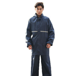 navy blue Oxford Fabric PVC reflective tape single split jacket pants male female adult thickening riding raincoat rain suit