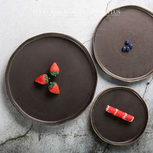 Tableware use porcelain tray irregular black matte glazed 7/9/10.5 inch round ceramic dinner plate