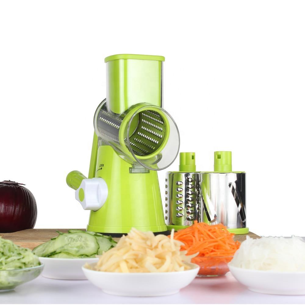 Green multi manual kitchen round vegetable cutter slicer cheese grater clever spiral cutter for home use