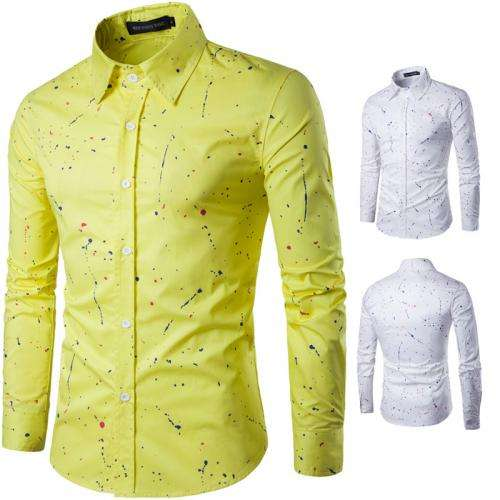 bright colored printed mens party wear shirt 2020 hot sale Cotton Long Sleeve Casual Shirts printed dot 90183